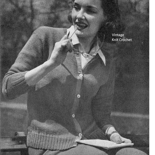 Vintage Knit Brooks Cardigan Pattern, WWII