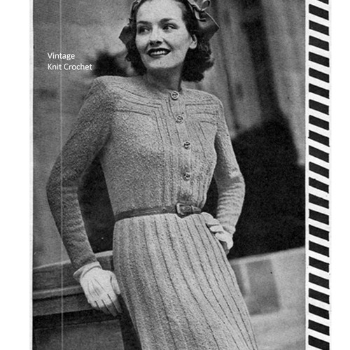 Size 16 Knitted Rib Dress Pattern, Vintage 1940s