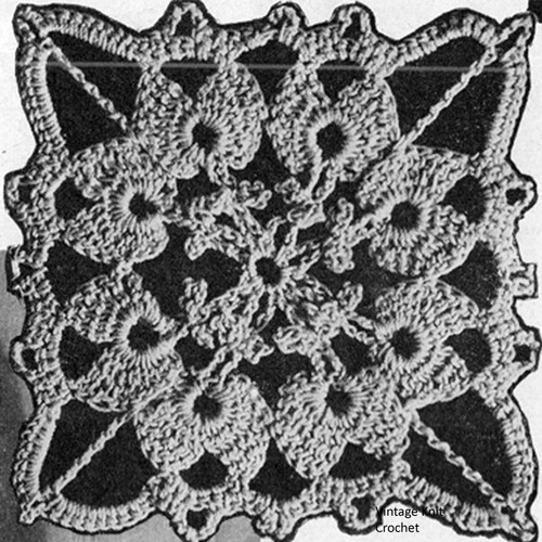 Crochet Square Medallion Pattern, 2-1/2 inches