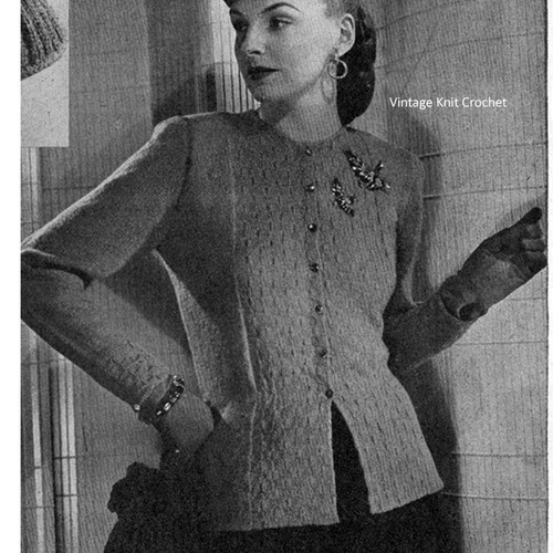 Knitted Vintage Cardigan Pattern, Size 18, Semi-Fitted