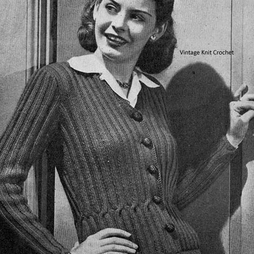 Vintage Knit Ribbed Cardigan Pattern with nipped waist