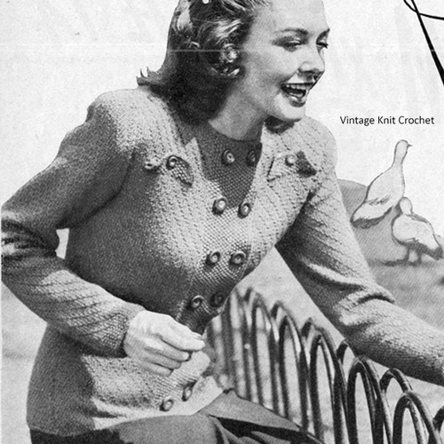 Knitted Vintage Double Breasted Jacket Pattern
