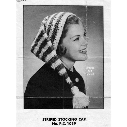 Striped Stocking Cap Pattern, extra long tail