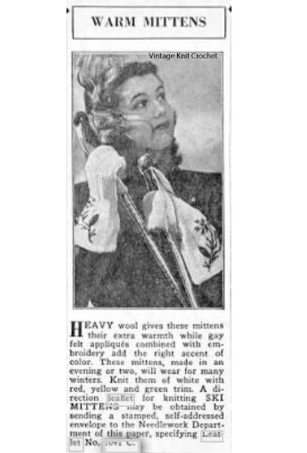 Leaflet 2041-C, Knitted Mittens, 1946 Advertisement