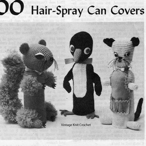 Crocheted Hair Spray Can Covers, Penguin, Cat, Squirrel