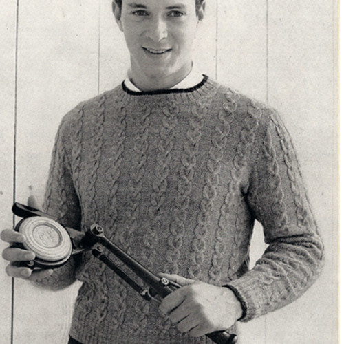 Vintage Knitted Mans Cable Sweater Pattern