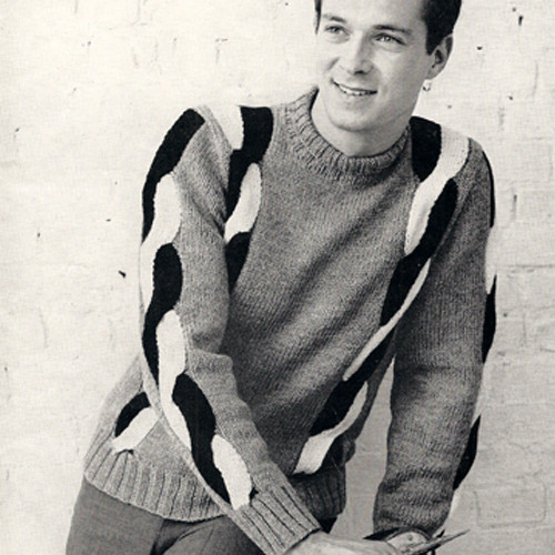 Vintage Mans Sweater Knitting Pattern, Braided Sleeves