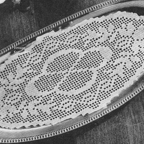 Filet Crocheted Oval Bread Tray Doily