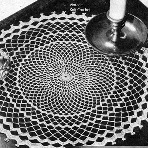 Medium Crochet Doily Pattern, rippled border