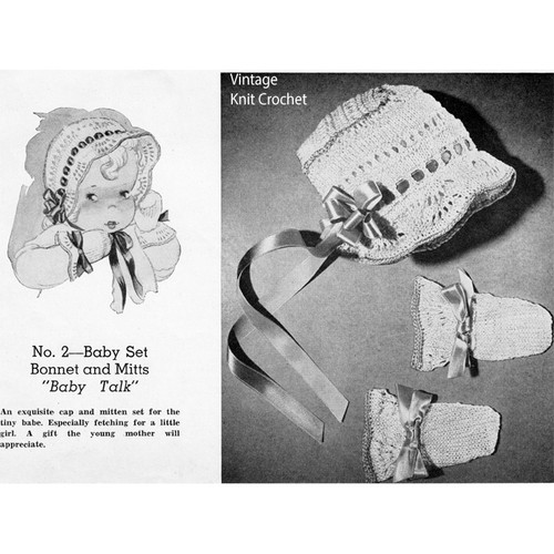 Baby Girl Knitted Bonnet Mittens Pattern