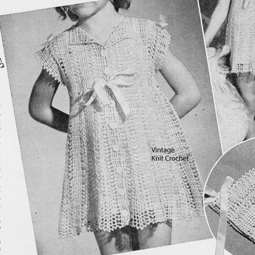 Girls Button-Down Crochet Party Dress Pattern