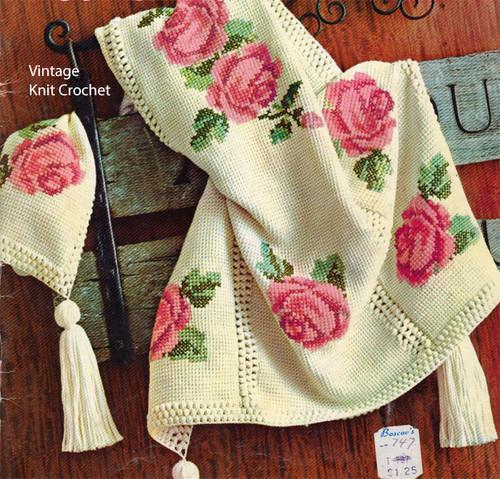 Crochet Rose Tapestry Pattern No 742-1