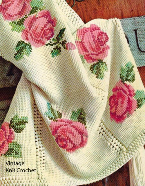 Vintage Rose Crochet Tapestry Pattern, Long Tassels