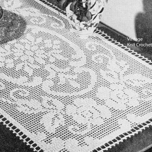 Darned Rose Scroll Centerpiece Doily pattern