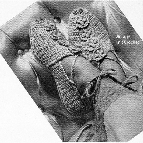 Vintage Crochet House Slippers Pattern