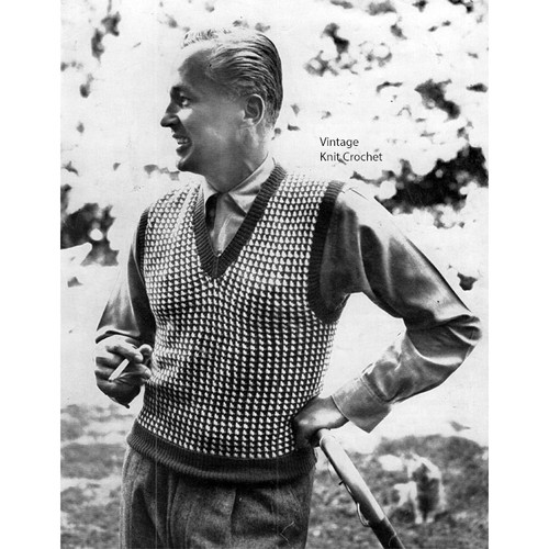 Mans Checked Knitted Sleeveless Pullover Pattern