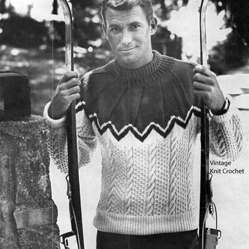Knitted Mans Ski Sweater Pattern, Contrast Yoke