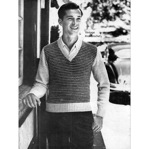 Mens checked pullover knitting pattern no 4044