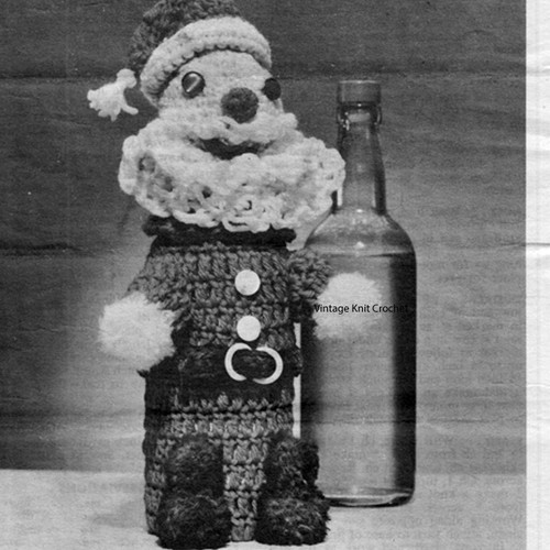 Vintage Santa Crocheted Bottle Cover Pattern