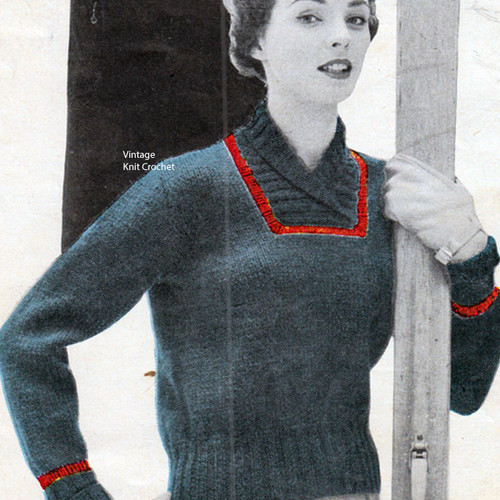 Vintage Ribbed Neck Pullover Knitting Pattern