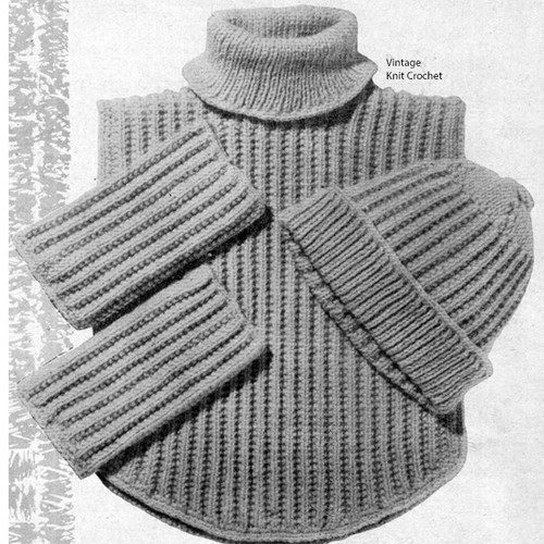 Ribbed Beanie Cap Knitting Pattern with Dickey