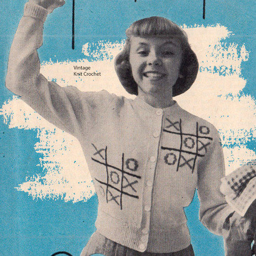 Knitting Pattern Girls Cardigan Pattern with tic-tac-toe