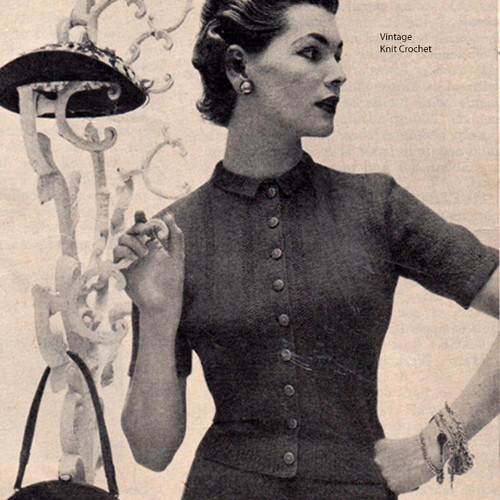 Knitting pattern, Short Sleeve Blouse Pattern, Vintage 1950s