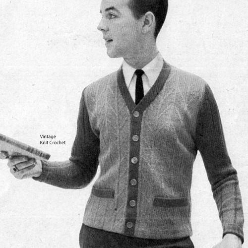 Vintage Mans Two-Tone Cardigan Knitting Pattern