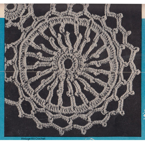 Round Wheel Crochet Medallion Pattern, Vintage 1950s