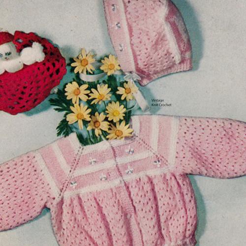 Knitted Baby Girl Jacket Bonnet Pattern