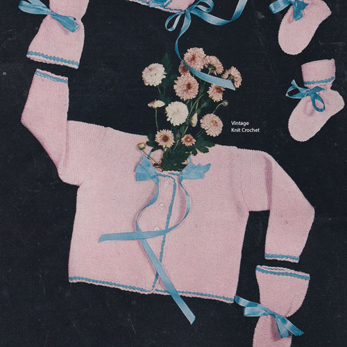 Vintage Knitted Baby Girl Baby Set Pattern