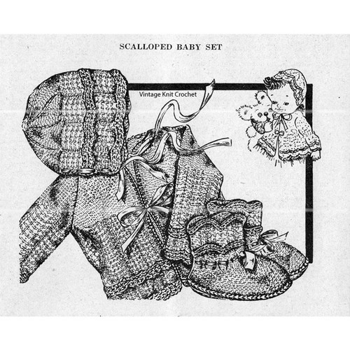 Knitted Baby Set Pattern, Workbasket 1948