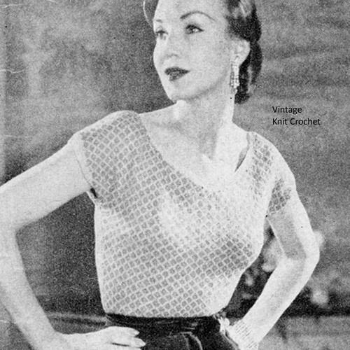 Vintage Knit Sleeveless Evening Blouse Pattern