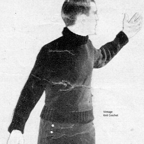 Turtleneck Pullover Knitting Pattern, Vintage 1950s