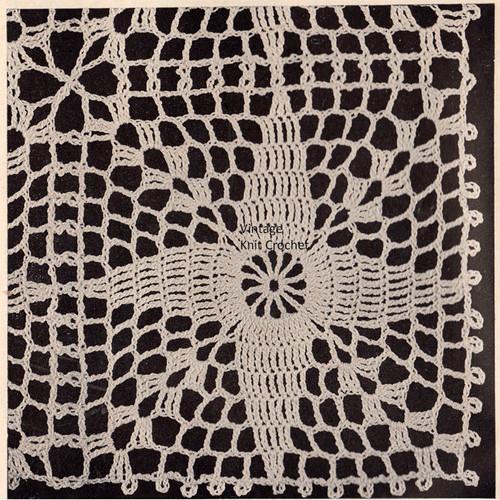 Vintage Crochet Daylily Square Pattern Illustration