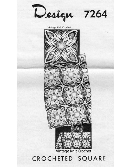 Crochet Star Tablecloth Pattern, Squares, Mail Order 7264