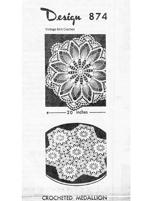 Crochet Hexagon Medallion Pattern, Mail Order Design 874