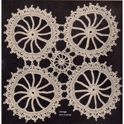 Wagon Wheels Crochet Medallion Pattern, Vintage 1940s