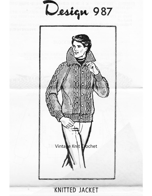 Knitted Mans Cable Jacket Pattern, Mail Order 987