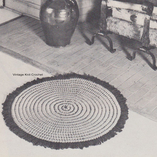 Round Rug Crochet Pattern with Fringe