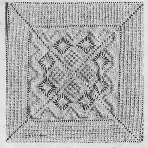 Waffle Popcorn crocheted square pattern for bedspread