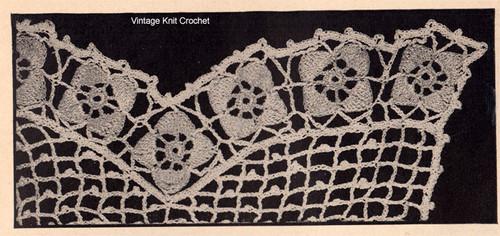 Flower border for crocheted apron