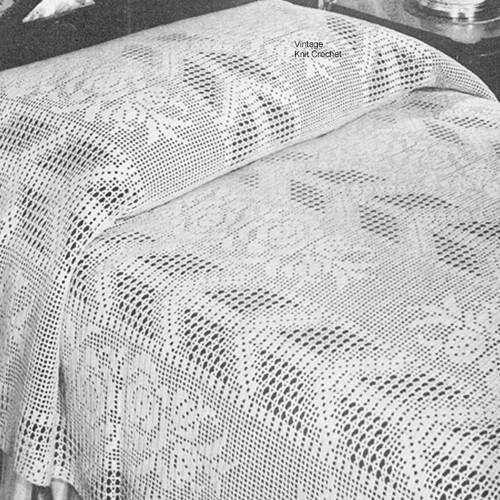 Vintage Filet Crochet Arrow Rose Bedspread Pattern