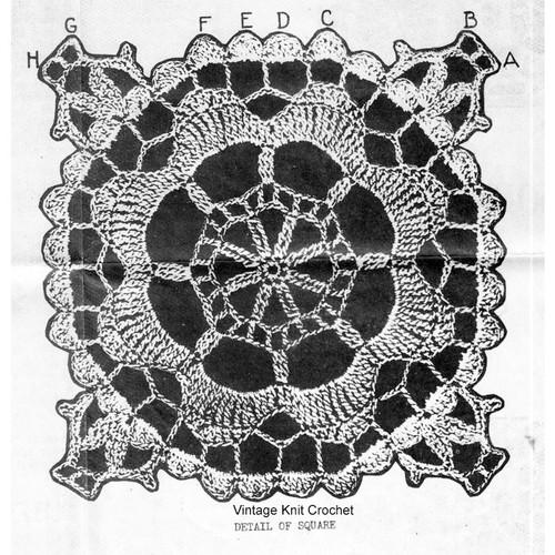Crochet Lace Wheel Square Pattern Design 6109