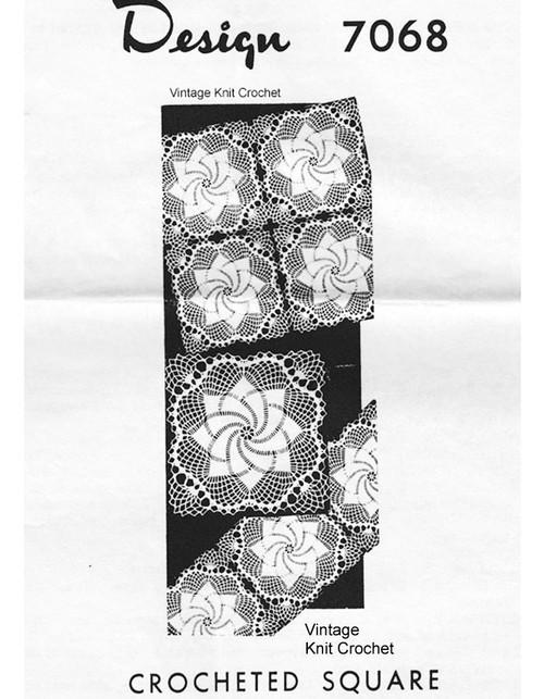 Pinwheel Crochet Square Tablecloth Pattern Design 7068