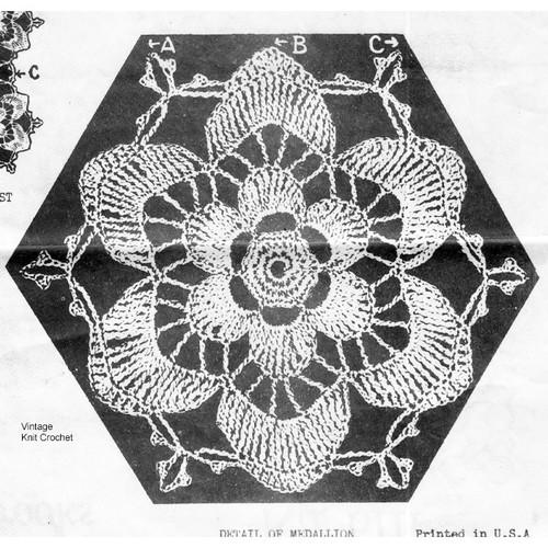 Vintage Crochet Flower Medallion Design 6111