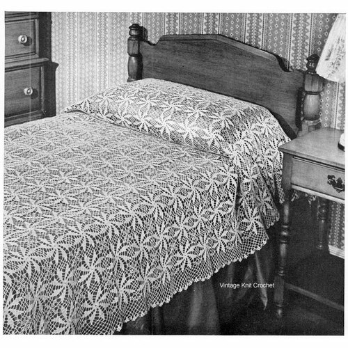 Pinwheel Crocheted Bedspread Pattern, Vintage 1950s