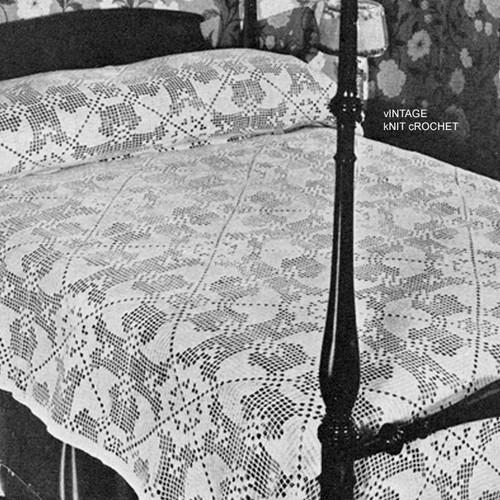 Filet Crocheted Bedspread Pattern, Vintage 1940s