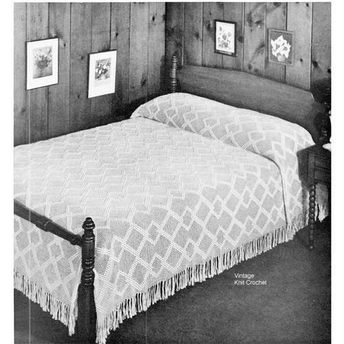 Crochet Diamond Bedspread Pattern No 6101