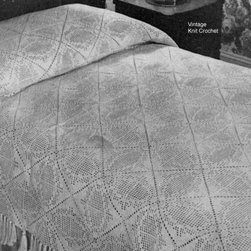 Vintage Filet Crocheted Bedspread Block Pattern